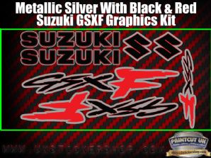Suzuki GSXF Red Black Silver Graphics Sticker Kit, 7 piece Set